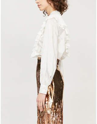 MSGM Ruffle-collar satin shirt