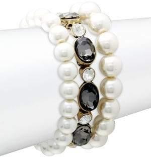Stein And Blye 3-Piece Goldtone, Faux Pearl & Crystal Bracelet Set