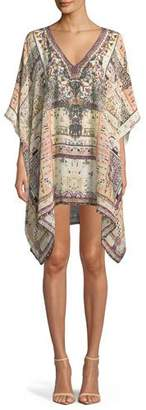Camilla Printed Embellished Silk Caftan