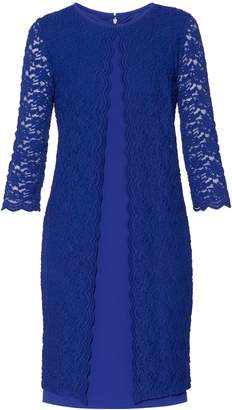 Next Womens Gina Bacconi Blue Kimora Scallop Lace Crepe Dress