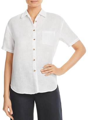 Three Dots Short-Sleeve Linen Shirt