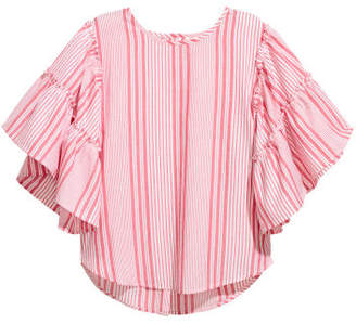 H&M Blouse with Flounced Sleeves - Red