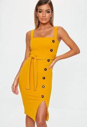 Missguided Mustard Strappy Midi Dress, Mustard
