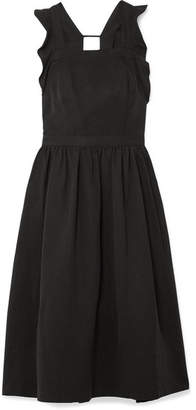 Ulla Johnson Willa Ruffled Twill Midi Dress - Black