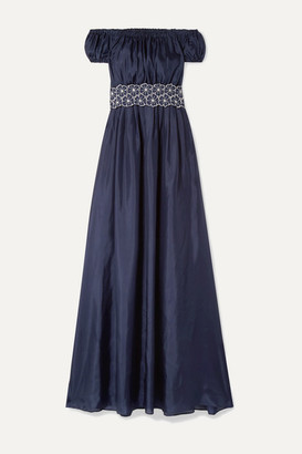 I.D. Sarrieri Malibu Sunshine Cutout Floral-embroidered Silk-blend Maxi Dress - Navy