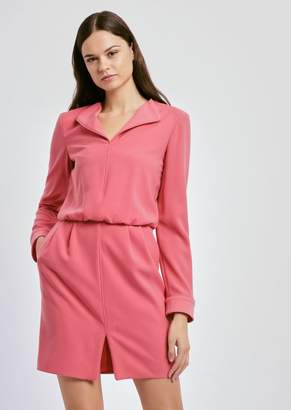 Emporio Armani Dress In Crepe With Neckline Lapels And Contrasting Trim