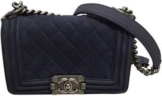 Chanel Boy Navy Suede Handbag