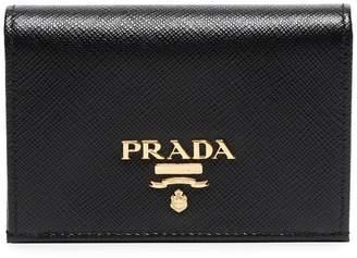Prada black logo leather wallet