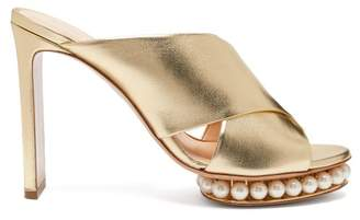 Nicholas Kirkwood Casati Pearl Heeled Leather Platform Mules - Womens - Gold
