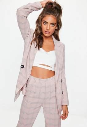 Missguided Pink Plaid Button Front Blazer