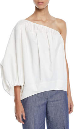 Derek Lam One-Shoulder Puff-Sleeve Cotton Sateen Blouse