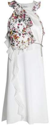3.1 Phillip Lim Embellished Floral-Print Paneled Silk-Twill Dress