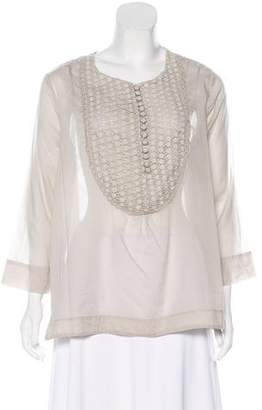 DAY Birger et Mikkelsen Crochet-Accented Long Sleeve Top