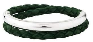 Christofle Duo Complice Braided Suede Bracelet Green Duo Complice Braided Suede Bracelet