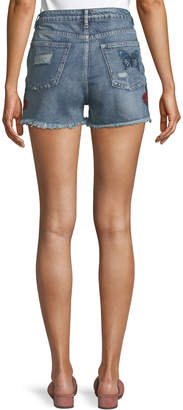Dex Embroidered Raw-Hem Shorts