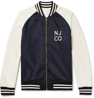 Nudie Jeans Mark Reversible Logo-Print Cotton And Tencel-Blend Bomber Jacket