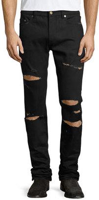Saint Laurent Slashed Straight-Leg Denim Jeans, Black $890 thestylecure.com