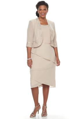 Le Bos Plus Size Tiered Shift Evening Dress & Jacket Set