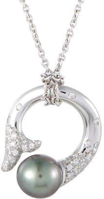 Mikimoto 18K 0.40 Ct. Tw. Diamond & 9-10Mm Pearl Necklace