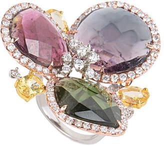Diamond Select Cuts 18K Tri-Color 23.06 Ct. Tw. Diamond & Gemstone Ring