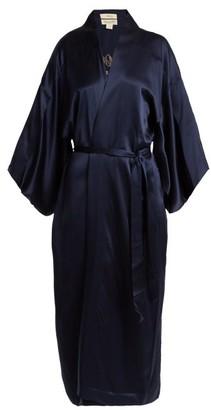 Chufy - Embroidered Silk Kimono Jacket - Womens - Navy
