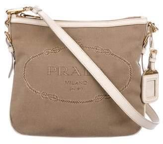 Prada Leather-Trimmed Canapa Crossbody Bag