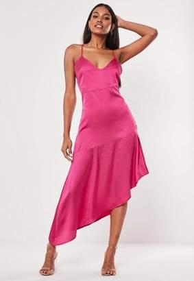 d44c4690789e Missguided Fuchsia Satin Cami Asymmetric Midi Dress