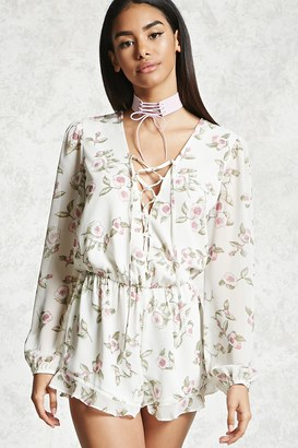 FOREVER 21+ Floral Lace-Up Romper $22.90 thestylecure.com