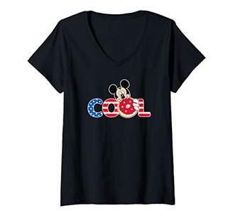 Disney Womens Mickey Mouse Americana Donut V-Neck T-Shirt