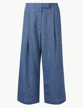 Marks and Spencer Pure Linen Wide Leg Cropped Trousers