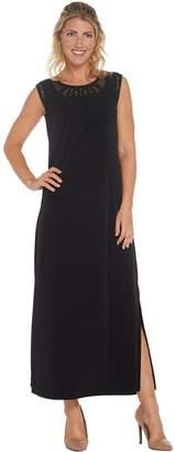 Susan Graver Petite Liquid Knit Maxi Dress w/ Macrame Detail
