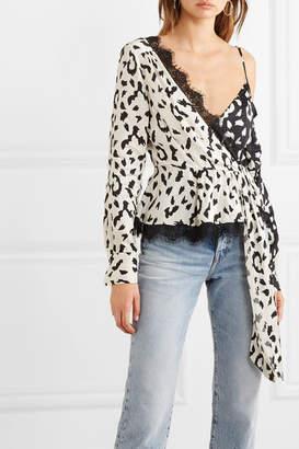 Self-Portrait Lace-trimmed Leopard-print Satin-jacquard Blouse - Cream