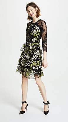 Marchesa 3/4 Sleeve Embroidered Cocktail Dress