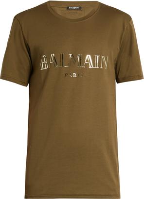 BALMAIN Logo-print cotton-jersey T-shirt $192 thestylecure.com
