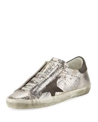 Golden Goose Superstar Snake-Embossed Metallic Low-Top Sneaker $565 thestylecure.com