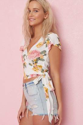 Garage Short Sleeve Wrap Top With Tie Detail