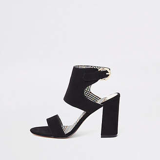 River Island Black faux suede block heel sandals