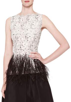 Carolina Herrera Sleeveless Lace Blouse with Feather Trim