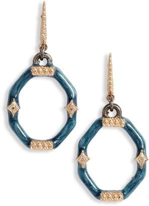 Armenta New World Enamel and Diamond Octagonal Drop Earrings