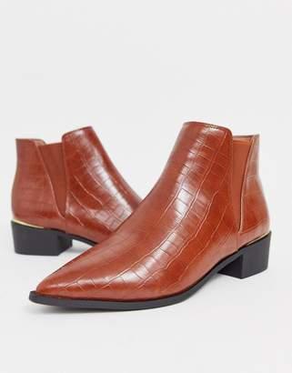 London Rebel western flat chelsea boot in croc