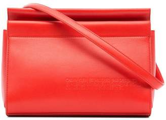Calvin Klein red top zip leather cross-body bag