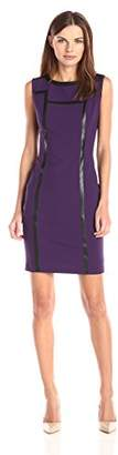 Lark & Ro Women's Sleeveless Structured Sheath Dress with Faux Leather Trim