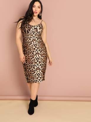 92d458465f8 Shein Plus Leopard Print Bodycon Slip Dress