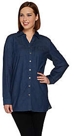 Denim & Co. Petite Stretch Button FrontTunic w/ Pocket