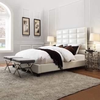 Weston Home Baylor White Bonded Leather Upholstered Column Bed - Multiple sizes