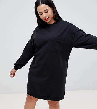 Asos DESIGN Curve Sweat Dress With Patch Pocket