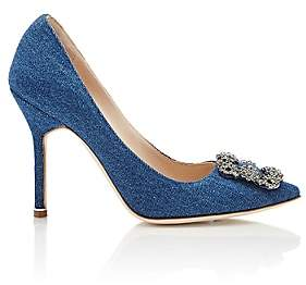 Manolo Blahnik Women's Hangisi Pumps - Blue Denim