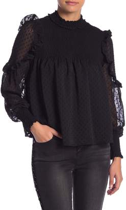 Romeo & Juliet Couture Dotted Ruffle Sleeve Blouse