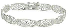 Lord & Taylor Sterling Silver High Polished Floral Filigree Rectangle Link Bracelet