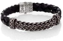 John Hardy Classic Chain Leather & Silver Bracelet